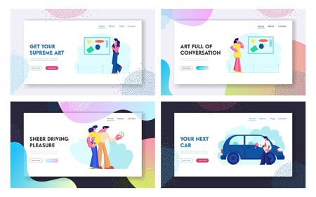 Car Sale and Exhibition Website Landing Page Set, Happy People Buying New Automobile in Salon, Visiting Contemporary Art Gallery. Museum Leisure Web Page. Cartoon Flat Vector Illustration, Banner