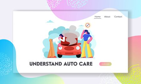 Road Accident with Broken Car Website Landing Page, Man Looking under Transport Hood with Smoke Going out, Girl Call to Repair Mechanic Service, Web Page, Cartoon Flat Vector Illustration, Banner Illustration
