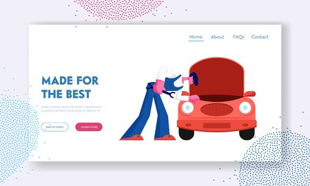 City Repair Service. Website Landing Page, Mechanic in Blue Overall Stand near Broken Car with Open Hood Holding Wrench Checking and Maintenance Car, Web Page. Cartoon Flat Vector Illustration, Banner