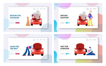 Road Accident with Broken Car and Mechanic Repair Service Website Landing Page, People Calling for Professional Help on Road, Workers Maintenance Car Web Page. Cartoon Flat Vector Illustration, Banner