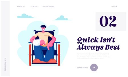 Cheerful Disabled Man with Broken Hand Sitting on Wheelchair Walking Outdoor, Motivation, Handicapped Person Enjoying Full Life Website Landing Page, Web Page. Cartoon Flat Vector Illustration, Banner Illustration