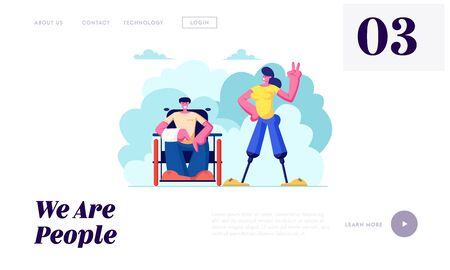 Disabled Man with Broken Hand on Wheelchair and Woman with Legs Prosthesis Walking Outdoors, Motivation, Friendship, Love. Website Landing Page, Web Page. Cartoon Flat Vector Illustration, Banner Illustration