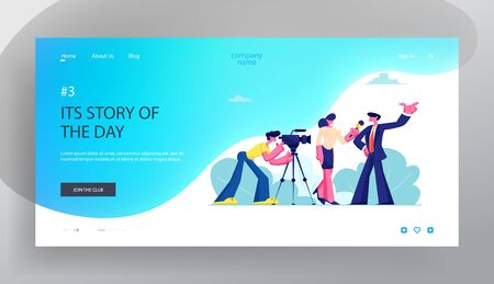 Mass Media Tv Broadcasting with Cameraman and Reporter. Female Journalist Taking Interview with Man Politics or Businessman, Website Landing Page, Web Page. Cartoon Flat Vector Illustration, Banner