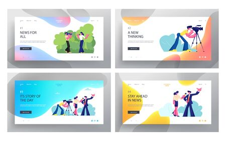 Mass Media Profession. Job Website Landing Page Set, Live News, Tv Broadcasting with Cameraman and Reporter. Female Journalist Taking Interview, Web Page. Cartoon Flat Vector Illustration, Banner Vectores