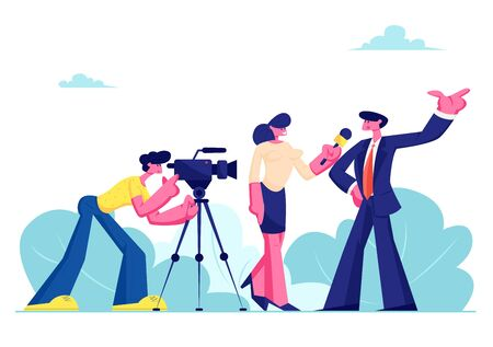 Mass Media Announcement of Live News, Tv Broadcasting with Cameraman and Reporter. Female Journalist Taking Interview with Man in Formal Suit, Politics or Businessman Cartoon Flat Vector Illustration Illustration