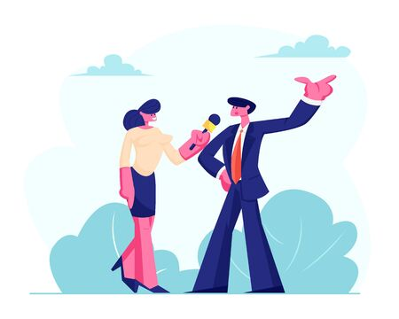 Female Journalist Holding Microphone Taking Interview with Man in Formal Suit, Politics or Businessman Outdoor. Mass Media Breaking News, Tv Broadcasting with Reporter Cartoon Flat Vector Illustration Çizim