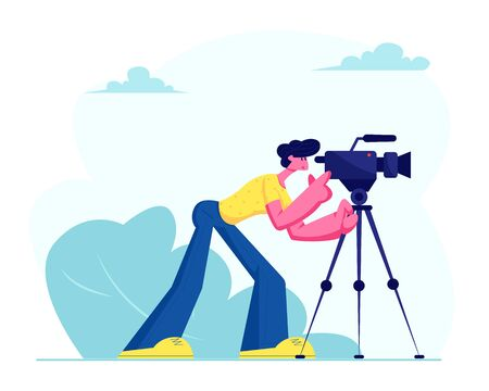 Mass Media Staff, Announcement of Live News, Broadcasting with Cameraman Recording Tv Program with Professional Camera Outdoors. Reportage, Journalistic Reporter Job. Cartoon Flat Vector Illustration Illustration