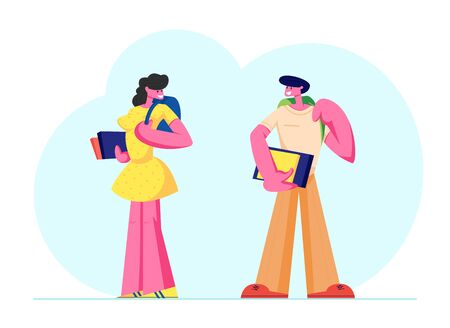 Man and Woman Students Characters with Backpacks and Books Watching on Each Other. University, High School Education, Young People Gain Knowledge, Studying in College. Cartoon Flat Vector Illustration