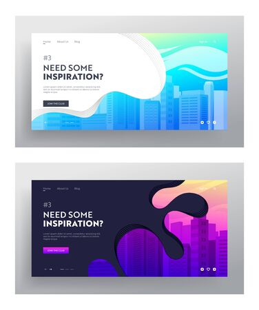 City Buildings Website Landing Page Set. Town Apartment Banner, Cityscape and Modern Townscape, Urban Architecture Web Page Design. Skyscrapers, Architectural Project. Cartoon Flat Vector Illustration