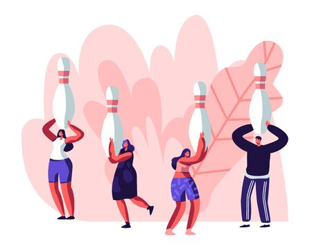 Male Character Playing Bowling, Huge Man Throw Ball, Tiny People Moving with Pins. Leisure, Active Lifestyle, Friends Spend Time Together on Weekend, Sparetime Cartoon Flat Vector Illustration