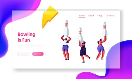 Cheerful Female Characters Hold Huge Pins over Head, Girl Friends Playing Bowling, Leisure, Active Lifestyle, Weekend Sparetime Website Landing Page, Web Page. Cartoon Flat Vector Illustration, Banner