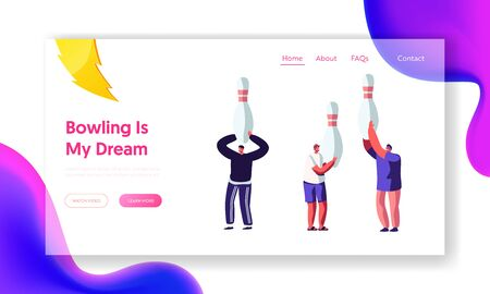 Happy Male Characters Hold Huge Pins in Hands, Friends Meeting for Playing Bowling, Leisure, Active Lifestyle, Weekend Sparetime Website Landing Page, Web Page Cartoon Flat Vector Illustration, Banner