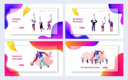 Bowling Sparetime Website Landing Page Set, Man Throw Ball, People Holding Pins. Leisure, Active Lifestyle, Friends Spend Time Together on Weekend, Web Page. Cartoon Flat Vector Illustration, Banner  イラスト・ベクター素材