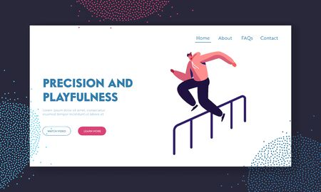 Parkour in City Website Landing Page. Young Man Jumping Over Barrier on Street, Urban Sport, Teenager Active Lifestyle, Sport Outdoors Activity Web Page. Cartoon Flat Vector Illustration, Banner