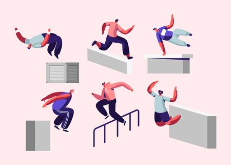 Parkour in City. Young Men Jumping Over Walls and Barriers, Urban Sports, Active Lifestyle, Sport Activity. Teenagers Tricks on Street, Free Runner Training Outdoors, Cartoon Flat Vector Illustration Illustration