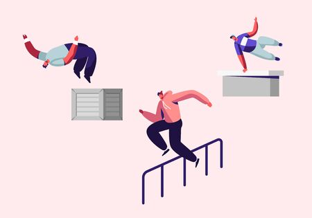 Teenagers Doing Extreme Tricks on Street, Parkour Sport in City. Young Men Jumping Over Walls and Barriers, Urban Sports, Active Lifestyle, Sport Activity, Training. Cartoon Flat Vector Illustration