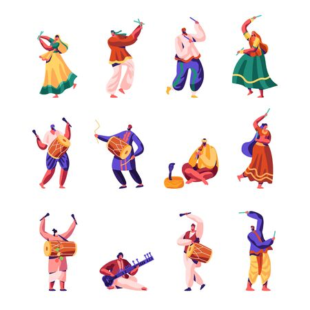 Indian Street Artists Set. Musicians and Dancers in Colorful Dress Performing on Street Playing Traditional Instruments, Yogi Charming Cobra, Play Music on Drums, Cartoon Flat Vector Illustration