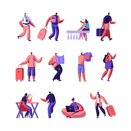 Set of Diverse Young People with Luggage and Maps Traveling and Stay in Hotel or Hostel. Male, Female Tourist Characters Staying at Night, Accommodation for Travelers. Cartoon Flat Vector Illustration