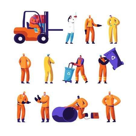 Garbage Recycling and Metallurgy Factory Workers Set. Ecology Protection and Pollution Industry Employees, Welder, Scavengers Collect Litter, Scientist with Test Flask Cartoon Flat Vector Illustration