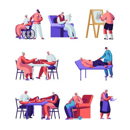 Seniors Set, Male and Female Characters in Nursing Home Engaging Hobby Care of Plants, Painting, Playing Chess, Knitting. Elderly People Having Leisure and Medical Aid Cartoon Flat Vector Illustration