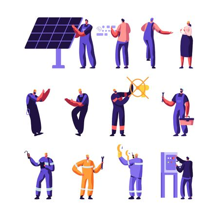 Gas Industry and Smart Home Maintenance Service Workers Set, Engineer Control Pipe, Solar Panel, Manometer, Factory Technician Engineering, Gasman, Mechanic Facility, Cartoon Flat Vector Illustration