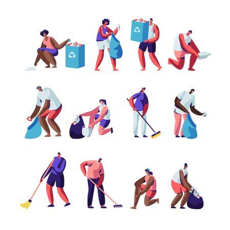 I volontari raccolgono la lettiera. Persone che rastrellano, spazzano, mettono la spazzatura in sacchetti con segno di riciclaggio, inquinamento con immondizia, personaggi ripuliscono i rifiuti, protezione dell'ecologia. Cartoon piatto illustrazione vettoriale Vettoriali