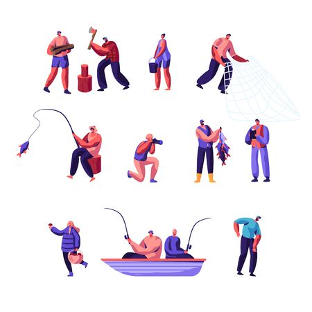 People Outdoors Activity Set. Male and Female Characters Having Active Leisure on Nature, Chopping Woods, Fishing, Collecting Mushrooms in Forest, Photographing, Cartoon Flat Vector Illustration Ilustrace