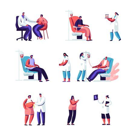 Schwangerschafts- und Blutspende-Set. Schwangere Frau beim Arzttermin. Medizinische Untersuchung, Ultraschall, Bauch messen, Babyherz hören. Freiwillige, die Blut spenden. Flache Vektorillustration der Karikatur