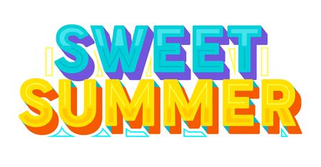 Sweet Summer Colorful Typography, Label or Badge. Template for Greeting Card, Poster, Banner and T-shirt Design. Sticker, Lettering Element, Creative Graphic Message, Quote Cartoon Vector Illustration