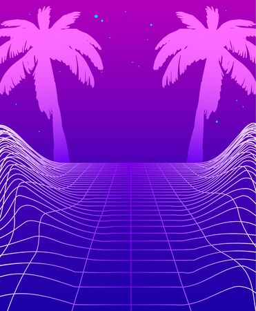 Synthwave Banner with Neon Glowing Grid, Futuristic Background with Palm Trees. Club Party Poster Template Cyberpunk Flyer Design. Retro Futurism Funky Decoration, Game Environment Vector Illustration