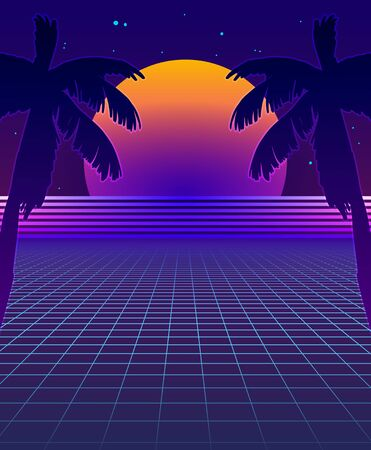Abstract Synthwave Background with Neon Glowing Grid, Futuristic Backdrop in Retro Style with Palm Trees and Full Moon. Club Party Poster Template, Cyberpunk Flyer, Funky Design. Vector Illustration