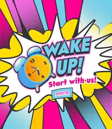 Alarm Clock Ringing on Colorful Half Tone Dotted Background. Vintage Colorful Watch Running and Bell to Wake Up at Morning. Cartoon Pop Art Vector Illustration in Retro Hand Drawn Comic Book Style