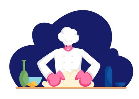 Concentrated Man Chef in Uniform Kneading Dough on Kitchen. Professional Baker Preparing Bread, Pizza or Pasta on Table with Products in Bakery Shop or Restaurant, Cartoon Flat Vector Illustration