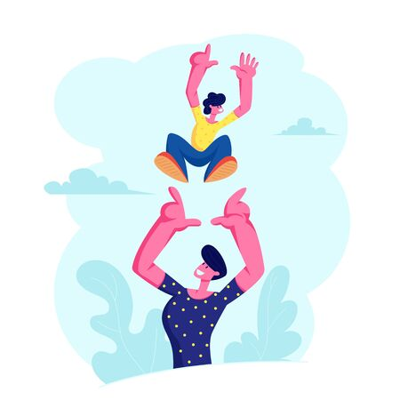 Father Tossing Up High Air Joyful Baby Boy, Healthy Child Outdoors Activity, Active Lifestyle, Having Fun with Family on Summer Vacation, Dad and Son Love, Relations, Cartoon Flat Vector Illustration