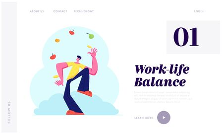 Man Juggling with Different Fruits and Vegetables. Juggler Throwing Up Healthy Vegetarian Products, Vitamins, Eco Food, Health Website Landing Page, Web Page. Cartoon Flat Vector Illustration, Banner Vektorové ilustrace
