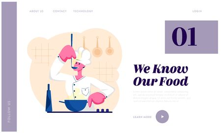 Man Chef in White Uniform Tasting Delicious Soup with Ladle on Kitchen. Professional Cooker Prepare Meal, Restaurant Staff, Website Landing Page, Web Page. Cartoon Flat Vector Illustration, Banner 일러스트