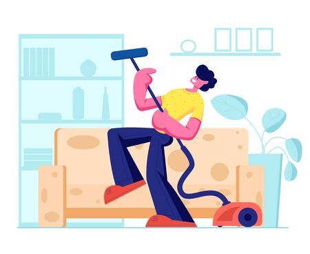 Man Dancing with Vacuum Cleaner as it is Electric Guitar, Householder Vacuuming Home in Living Room. Domestic Work, Cleaning Floor. Every Day Routine, Weekend Chores, Cartoon Flat Vector Illustration