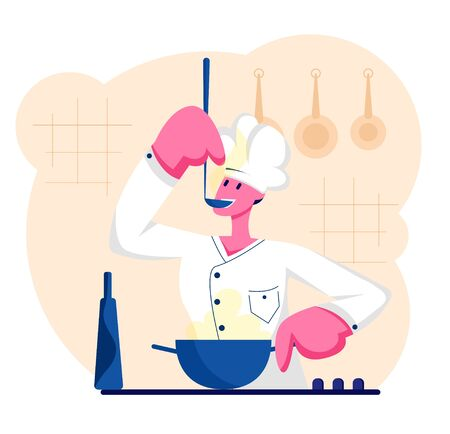 Man Chef in White Uniform and Cap Tasting Delicious Soup with Ladle on Kitchen. Professional Cooker Prepare Meal, Male Character Cooking, Restaurant Staff, Hospitality Cartoon Flat Vector Illustration 일러스트