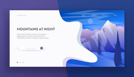 Mountains at Night Website Landing Page, Beautiful Nighttime Highland Landscape, Tranquil Scenery Hill Peak with Moon, Cloudy Starry Sky, Wild Nature Web Page. Cartoon Flat Vector Illustration, Banner