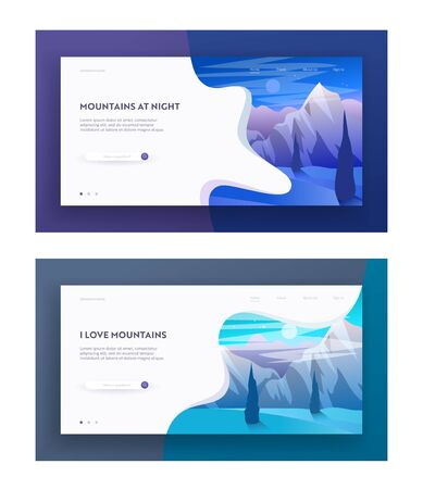 Mountains at Night and Morning Website Landing Page Set, Beautiful Highland Landscape, Tranquil Scenery Hill Peak, Blue and Starry Sky, Wild Nature Web Page. Cartoon Flat Vector Illustration, Banner  イラスト・ベクター素材