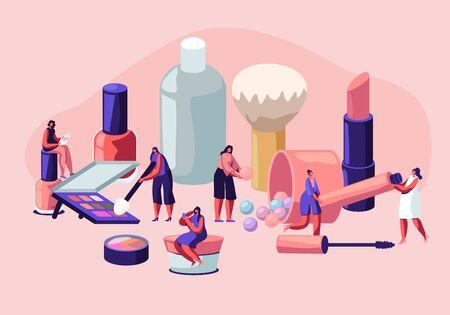 Mujeres en salón de esteticista. Personajes femeninos que prueban productos para el cuidado de la piel en un salón de belleza. Cursos de Maquillaje, Escuela de Maquillaje, Masterclass de Cosmética, Cuidado y Belleza Facial. Ilustración de Vector plano de dibujos animados
