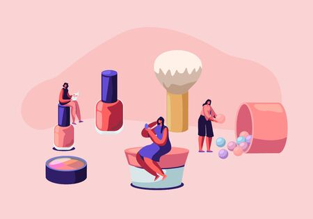 Cosmetics Masterclass, Face Care and Beauty. Women in Beautician Parlor. Female Characters Testing Skin Care Products in Salon. Makeup Courses, Make Up School, Cartoon Flat Vector Illustration