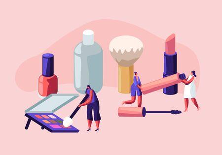 Las mujeres pasan tiempo en el salón de esteticista. Personajes femeninos que prueban productos para el cuidado de la piel en un salón de belleza. Cursos de Maquillaje, Escuela de Maquillaje, Masterclass de Cosmética, Cuidado Facial. Ilustración de Vector plano de dibujos animados