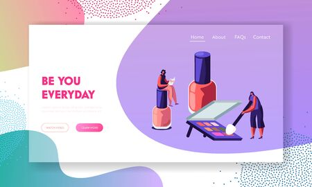 Woman Sit on Huge Nail Polish Bottle Reading Fashion Magazine, Girl Trying Palette in Beauty Salon Staff, Makeup Cosmetics Class Website Landing Page, Web Page Cartoon Flat Vector Illustration, Banner Ilustracja