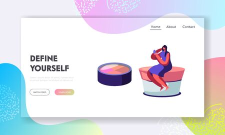 Woman Watching in Little Mirror Sitting on Huge Cream Jar, Cosmetics Products, Beauty Salon, Makeup Courses, Make Up School, Website Landing Page, Web Page. Cartoon Flat Vector Illustration, Banner