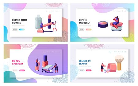 Women in Beautician Parlor. Female Characters Testing Skin Care Products in Beauty Salon. Makeup Cosmetics Face Care, Beauty Website Landing Page Set, Web Page. Cartoon Flat Vector Illustration Banner