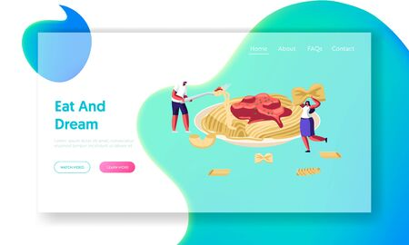 Characters Eating Spaghetti Pasta with Sauce from Huge Plate, with Dry Macaroni around. Italian Cuisine, Healthy Food Menu, Website Landing Page, Web Page. Cartoon Flat Vector Illustration, Banner 向量圖像