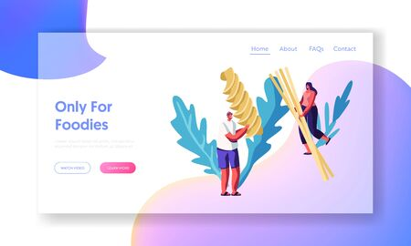Male and Female Tiny Characters Cooking Pasta, Holding Huge Dry Spaghetti and Macaroni in Hands, Foodies Menu, Italian Cuisine Website Landing Page, Web Page. Cartoon Flat Vector Illustration, Banner Illustration