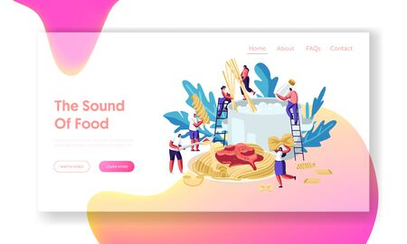 Male and Female Characters Cooking Pasta, Putting Spaghetti and Dry Macaroni of Various Kinds in Huge Pan with Boiling Water Website Landing Page, Web Page. Cartoon Flat Vector Illustration, Banner