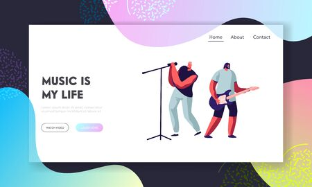 Rock Band Performing on Stage. Electric Guitarist and Singer Giving Music Concert. Men Artists in Rocking Outfit, Music Show. Website Landing Page, Web Page. Cartoon Flat Vector Illustration, Banner